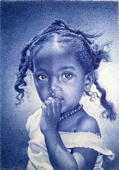 Ghana-based artist Enam Bosokah captures incredible likenesses using only a blue ballpoint pen. The stunningly-realistic portrait drawings depict world leaders, writers, as well as children and couples. Amazing Drawings, Realistic Drawings, Ink Drawings, Amazing Art, Awesome, Portrait Au Crayon, Pencil Portrait, Stylo Art, Ballpoint Pen Drawing