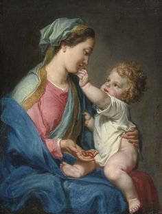 Attributed to Domenico Corvi (Viterbo Rome) , The Madonna and Child Religious Pictures, Religious Icons, Religious Art, Blessed Mother Mary, Blessed Virgin Mary, Hail Holy Queen, Religion, Vintage Holy Cards, Jesus Christus