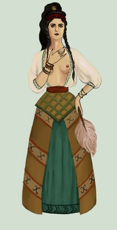 Minoans lived on an island Crete between 3000 and 1600bc. Early Minoan clothing (2400-2100 bc) consisted of bell-shaped skirt and a shawl, drapped in a form of a blouse. Minoan Greece by Tadarida.deviantart.com on @DeviantArt