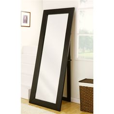 Modern Classic Leaning Wall Mount Full Length Cheval Floor Mirror in Black