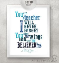 Teacher Appreciation Printable / Thank You Teacher Typography / End of Year Teacher Gift Ideas / Roots Wings / Blue //