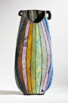 Ute Grossmann ceramic vase in muted rainbow tones Ceramic Clay, Ceramic Vase, Ceramic Pottery, Pottery Art, Stoneware Clay, Earthenware, Kintsugi, Sculptures Céramiques, Clay Vase