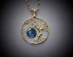 Abalone Paua Brass Wire Tree of Life Necklace by deleas on Etsy