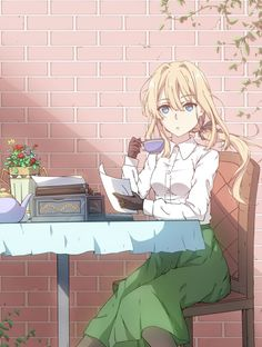 Violet Evergarden drink a cup of tea Manga Anime, Fanart Manga, Sad Anime, Manga Art, Kawaii Anime, Violet Evergreen, Aho Girl, Violet Evergarden Anime, Violet Garden