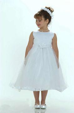 White Sleeveless Satin Tulle Flower Girl Dresses With Petals