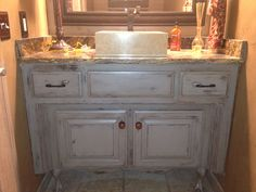 Painted, Glazed, Distressed Bathroom Vanity. Started With Graphite Gray  Chalk Paint, Then