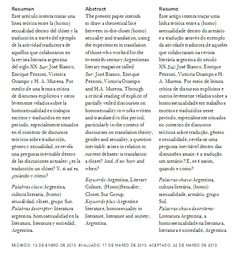 El clóset del traductor: la edición de sexualidades en la cultura literaria argentina   The Translator's Closet: Editing Sexual Content in Argentinean Literary Culture   O Armário do tradutor: a edição de sexualidades na cultura literária Argentina   PDF de descarga gratuita: https://www.academia.edu/4980624/El_closet_del_traductor_Editando_sexualidades_en_la_cultura_literaria_argentina