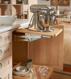Kitchen Aid Mixer storage ideas. Hardware is about $90 on Amazon. Plus you'll need a shelf for it to sit on, but this is a great idea!!
