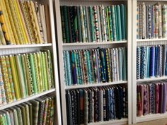 I present Crimson Tate, modern quilt shop, in Indianapolis. Store Fabric, Fabric Shop, My Sewing Room, Sewing Rooms, Quilt Shops, Fabric Display, Shop Displays, Display Ideas, Room Ideas