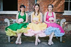 Multicoloured // colourful 1950s vintage retro inspired halterneck bridesmaids dresses with frilly petticoats  From 'A Bright, Rainbow Coloured 1950's Inspired Wedding'  Photography http://www.alexa-loy.com/