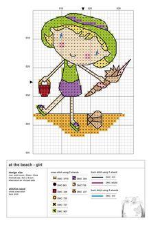 cross stitch - at the becah girl - chart free - durene jones #beach #summer