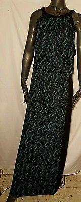 Sejour multi color black sleeveless maxi dress plus size 2x euc