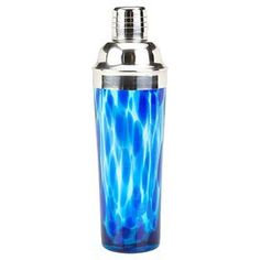 """Hand-blown spotted glass shaker in blue.   Product: ShakerConstruction Material: GlassColor: BlueFeatures: 20 Ounce capacityDimensions: 10.75"""" H x 3.75"""" DiameterCleaning and Care: Dishwasher safe"""