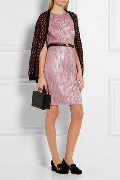 Gucci | Plissé lamé mini dress | NET-A-PORTER.COM