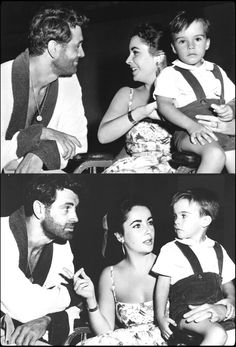 Rock Hudson with Elizabeth Taylor and her son on the set of Giants