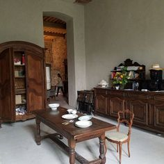 Off the kitchen, this large room holds the dishes and coffee in the morning French Countryside, Country French, Chateau De Gudanes, Manor Houses, French Chateau, Dining Table, Doll, France, Dishes