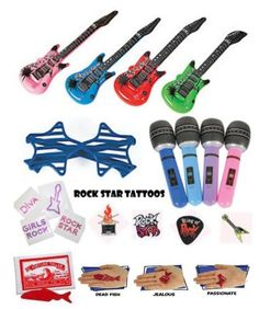 The Ultimate Rock Star Party Favor Pack - 120 Pc (12 Inflatable Guitars, 12 Inflatable Microphones, 12 Star Shaped Shutter Shade Sunglasses, 24 Fortune Fish, 36 Rockstar Temporary Tattoos, & 12 Rock Star Diva Jewel Temporary Tattoos) Multiple,http://www.amazon.com/dp/B00ESTUAAY/ref=cm_sw_r_pi_dp_rxbetb0RTD073VKS