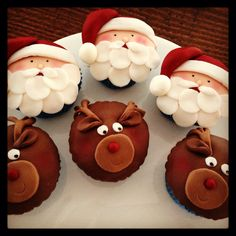 Santa & Rudolf cupcakes Shared by Where YoUth Rise Christmas Cupcake Toppers, Holiday Cupcakes, Holiday Desserts, Christmas Deserts, Noel Christmas, Christmas Candy, Baking Cupcakes, Fun Cupcakes, Cupcake Cakes