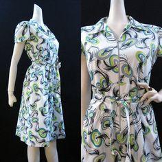 40s 50s Dress Vintage Cotton Zip Front Killer by voguevintage on etsy.com - $95.00   VCAT