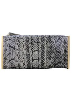 """This exotic water snake skin clutch will bethe talk of the party!    Measures: 8.5"""" x 4"""" x 1.5""""   Snake Clutch by Sondra Roberts. Bags - Clutches New York"""