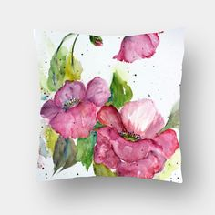 Spring Blooms Cushion Cover #cushion #pillow #cushioncover #floralcushion #pinkandwhite #paintedpillow #homedecor #furnishing
