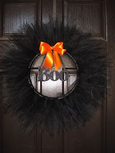Portobello Road: DIY craft...Halloween Wreath - a mirror in the center with BOO would be great!