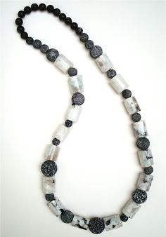 Necklace. Rainbow Moonstone, Lava Stone. Ella Cooley, 2010.