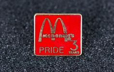Mcdonald's Pride 3 Years Vintage Tack Pin by MichaelPMoriarty