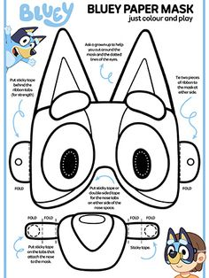 Bluey Paper Mask Colour and Play coloring pages printable and coloring book to print for free. Find more coloring pages online for kids and adults of Bluey Paper Mask Colour and Play coloring pages to print. Dog Birthday, Third Birthday, 3rd Birthday Parties, Birthday Cakes, Birthday Ideas, Bingo Party, Abc Party, Activity Sheets For Kids, Rainy Day Fun