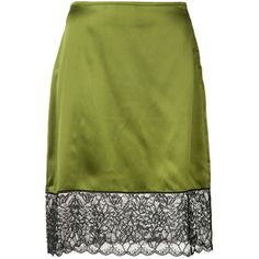 Marques'almeida lace detail straight skirt (12 280 UAH) ❤ liked on Polyvore featuring skirts, green, silk skirt, straight skirt, green silk skirt and green skirt