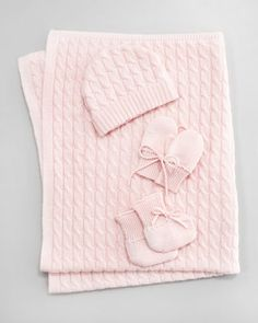Cashmere Baby Cable-Knit Cap, Mittens, Booties & Blanket, Light Pink by Neiman Marcus at Neiman Marcus.