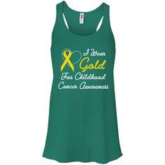 I Wear Gold For Childhood Cancer Awareness B8800 Bella + Canvas Flowy Racerback Tank