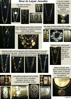 How to Layer Jewelry, Premier, Premier Designs, jewelry, fashion, style, income, home business, direct sales, http://www.facebook.com/landis.gems