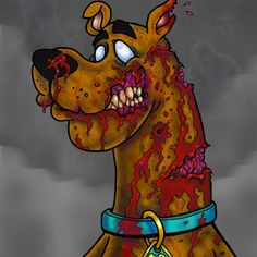 Re-imagined Zombie Scooby-Doo. Zombie Disney, Disney Horror, Horror Art, Cartoon Kunst, Cartoon Drawings, Cartoon Art, Zombie Kunst, Zombie Art, Scooby Doo Tattoo