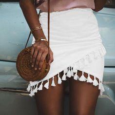 Tassel White Skirt High Waist Elastic Pencil Black Mini Skirt Streetwear Chic Short Beach Summer Skirt Source by fashionterras Mode Outfits, Skirt Outfits, Trendy Outfits, Fashion Outfits, Fashion Trends, Fashion Ideas, Fashion 2017, Classy Outfits, Fashion Pants