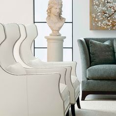 Kingston Wing Chair in ivory white leather Upholstered Accent Chairs, Upholstered Furniture, Wingback Chair, Sofa, London House, Wing Chair, Office Chic, Ivory White, Lounge Chairs