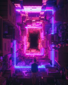 MAKESHIFT HOME , beeple  cyberpunk polygonal cubic environment, blade runner inspired environment landscape concept art artwork inspiration ideas, dark, black, purple blue neon glow fantasy space station scene environment render, illustration, scifi fantasy environment futuristic tech architecture buildings digital art, matte painting on ArtStation at https://www.artstation.com/artwork/2XwEx