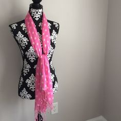 Pink and Cream Polka Dot Scarf 100% Rayon. Lightweight. New with tags! All Jazzed Up Accessories Scarves & Wraps