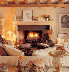 Warm, Inviting & cozy Cottage Chic Living Room....So Beautiful! Couch will face bookcase and t.v. Instead of a fireplace.