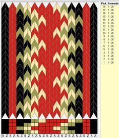 Brikkevev-mønster til bunad. Renning. Belte: Beltegarn Innslag bomull 24/2, fra f.eks. Solberg spinneri - 8-10 tråder. Snu-frekvens: Ca. ved innslag 40, 80, 80 og 40 på belter. Renning hårvipper; Beltegarn eller kan du også bruke Alv Kamgarn fra Hillesvåg Ullvarefabrikk.