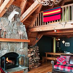 Before & After: Tahoe cabin makeover | Cabin great room | Sunset.com, Pendleton hooked wool pillow and Rainier National Park blanket