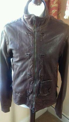 Reiss Mens Leather Bomber Biker Jacket Size L Chestnut Brown  Athleisure Vgc  | eBay