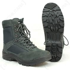 Urban Grey Tactical Army Boot with YKK Zipper