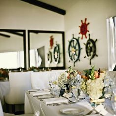 Beach Inspired Wedding Centerpieces - The South Room at The Sunset Restaurant - Malibu, California - Credit: www.OneLovePhoto.com