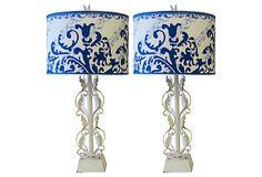 White Painted Scroll Lamps, Pair on OneKingsLane.com