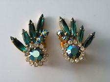 Juliana emerald green green aurora borealis clear rhinestone clip-on earrings