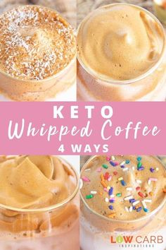 If you haven't tried a Dalgona Whipped Coffee recipe yet, you are missing out! This delicious trending recipe is a must-try! We have tried it and love it so much that we created 4 amazing ways to enjoy whipped coffee. Turtle Cheesecake Recipes, Keto Cheesecake, No Carb Recipes, Shake Recipes, Free Keto Meal Plan, Free Meal, Grain Free Granola, Recipe Filing, Keto Drink