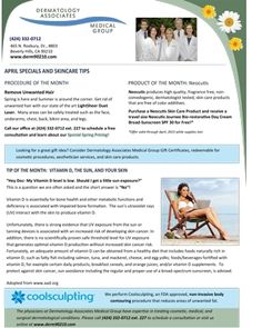 April 2015 Newsletter: Vitamin D, The Sun, And Your Skin