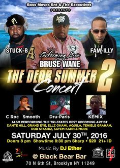 """Boss Moves Ent & The Executives  Present """"Bruse Wane""""  Hip Hop will be in full affect Saturday July 30th in Brooklyn. This will be one of the summers best events. Headlined with great performances by Wane Enterprises Ceo Bruse Wane , Bruse Will be perfoming all his bangers that featured , Keith Murray, Sean Price & Chris Rivers. Also performing Hip Hop Legend Sean P's Brother and fire spitter.. Stuck B Foh. Wane Enterprise artist Fam-illy Bx will also be heating up the set..with some fire…"""
