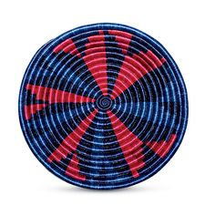 Blue and Red Pattern Plateau Basket Basket Weaving, Hand Weaving, Africa Craft, Global Decor, Red Pattern, African Fabric, How To Raise Money, Tech Accessories, Gift Guide